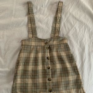 f21 plaid pinafore dress w buttons S